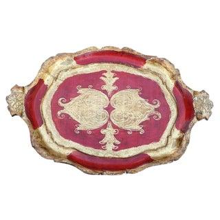 Red Gilded Italian Tray