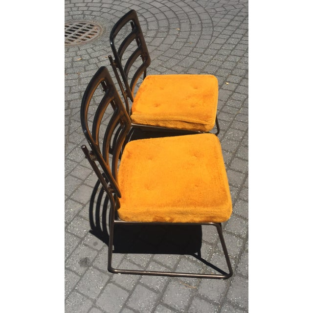 Mid-Century Chrome Craft Amber Lucite & Orange Chairs - A Pair - Image 6 of 10