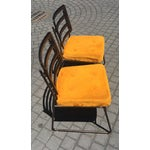 Image of Mid-Century Chrome Craft Amber Lucite & Orange Chairs - A Pair