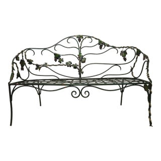 Vintage Wrought Iron Garden Bench Wrapped in Grape Vine