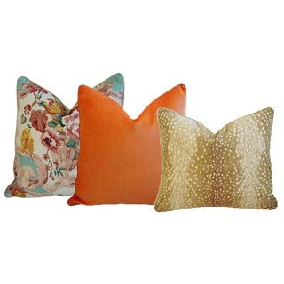 Mulberry Floral Rococo, Antelope Fawn Spot, & Tangerine Orange Feather/Down Pillows - Set of 3