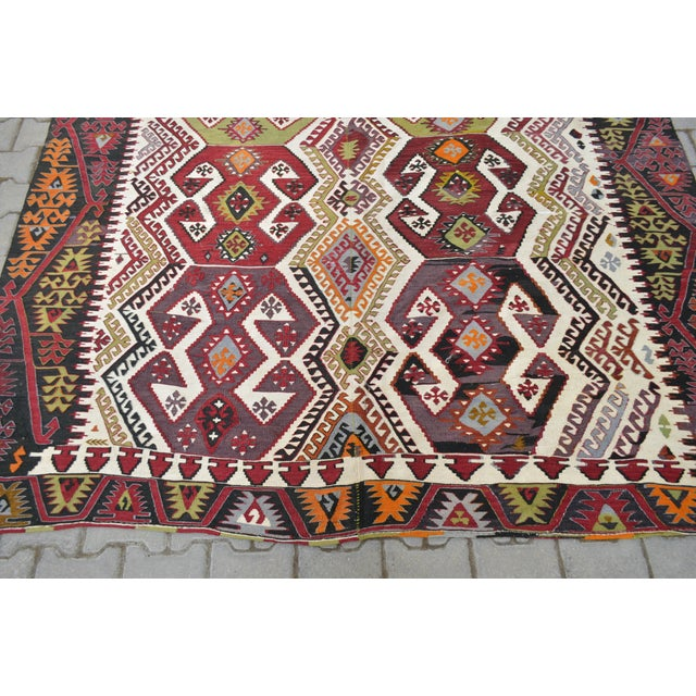 "Hand-Woven Turkish Kilim Rug - 7'2"" x 16'3"" - Image 10 of 11"