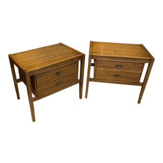 Pair of Drexel Composite Walnut Nightstands