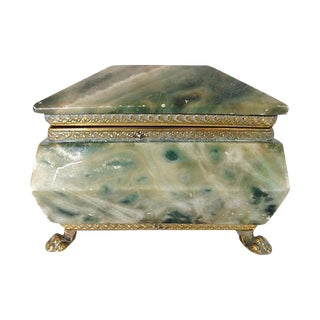 Footed Italian Alabaster Box & Brass Accent Trim