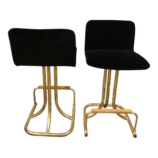 2 Sets of 4 Design Institute America Mid Century Modern Black Velvet, Brass & Wood Bar Stools