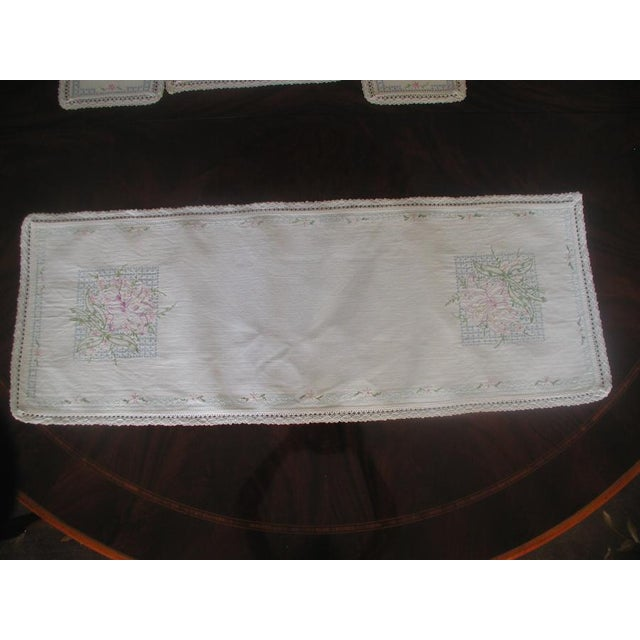 Hand Embroidered Furniture Scarves - Set of 4 - Image 3 of 10