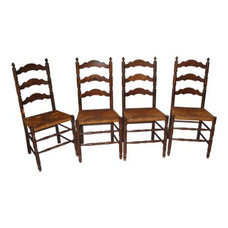 Antique Mahogany Ladder Back Chairs - Set of 4