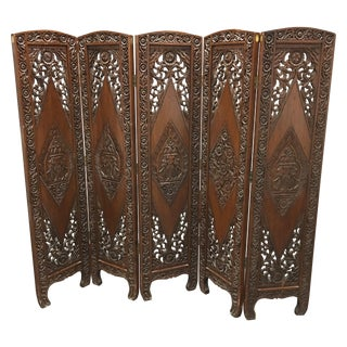 Hand Carved Five Panel Wood Screen