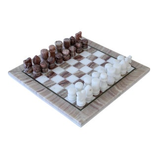 Carved Marble Chess Set With Brass Trim