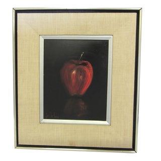 """Red Apple"" Still Life -Mid-Century Signed Original Oil Painting"