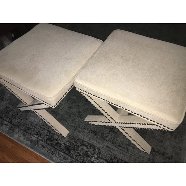 Linen Nailhead X-Bench Ottoman - a Pair - Image 3 of 8