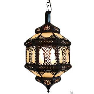 White Etched Moroccan Lantern
