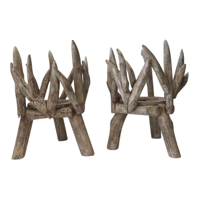 Pair of Painted Wood and Twig Planters - Image 1 of 5