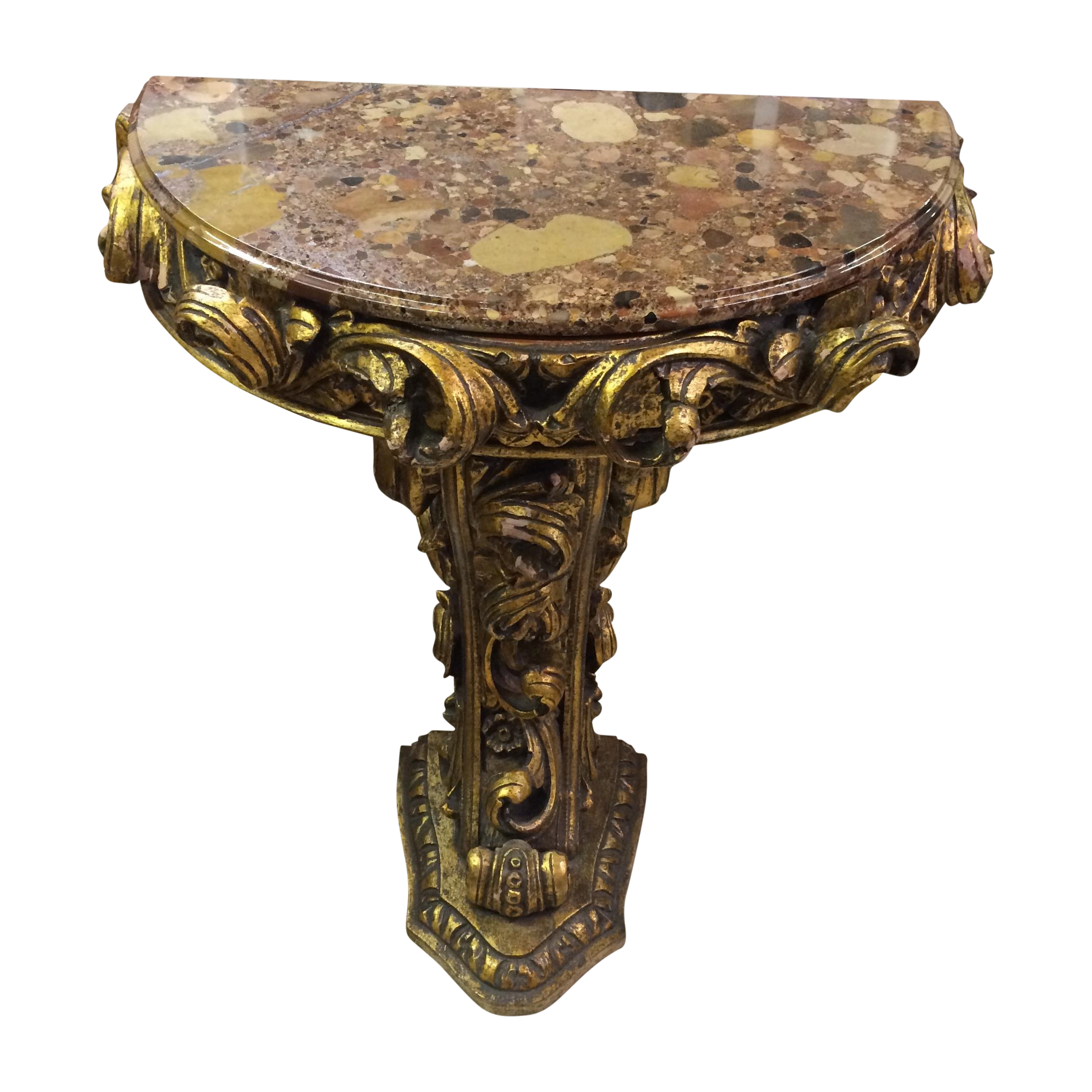 Marble Top Half Round Side Table   Image 1 Of 7