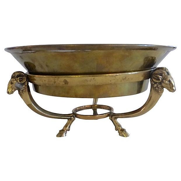 Brass Bowl With Ram's Heads Decor Support - Image 1 of 4
