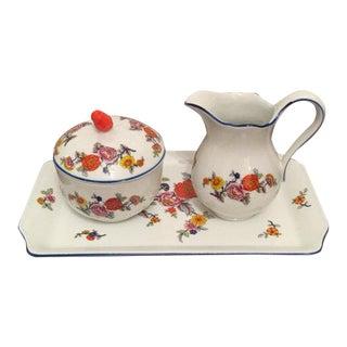 Tirschenreuth Bavaria Fine Porcelain Lidded Sugar Bowl & Creamer