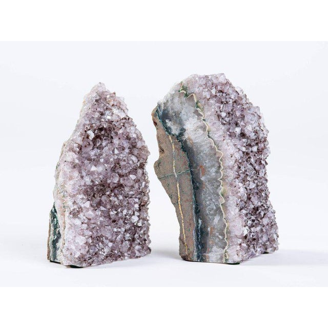 Pair of Organic Amethyst Crystal and Geode Bookends - Image 5 of 9