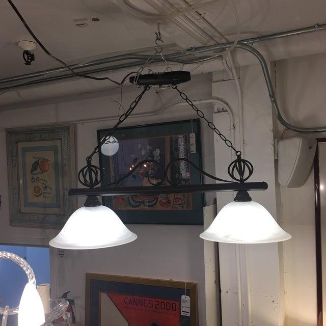 Image of Wrought Iron & Glass 2 Pendant Fixture