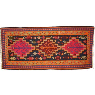 "Boho Chic Vintage Persian Tribal Kilim Rug Runner - 5'3"" X 11'3"""