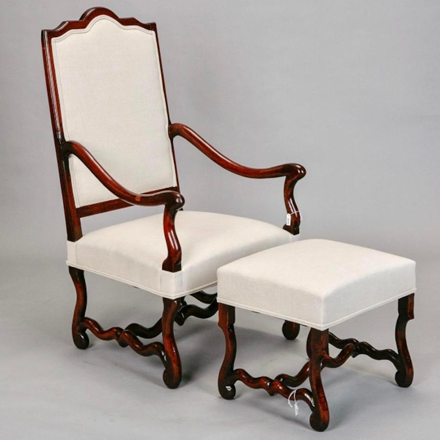 French Louis XIV Style Os De Mouton Arm Chair U0026 Matching Ottoman   Image 2  Of