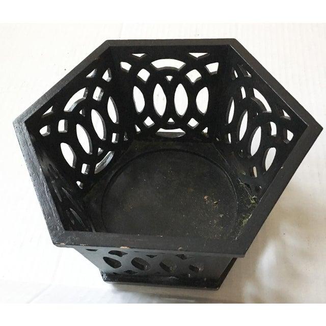 English Fretwork Octagonal Ebonized Wood Cachepot - Image 3 of 6