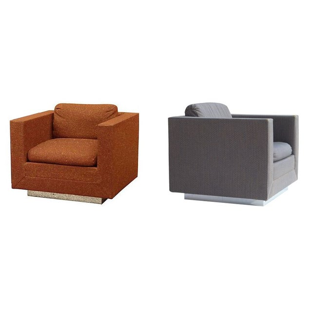 Image of Stow & Davis Cube Club Chairs - A Pair
