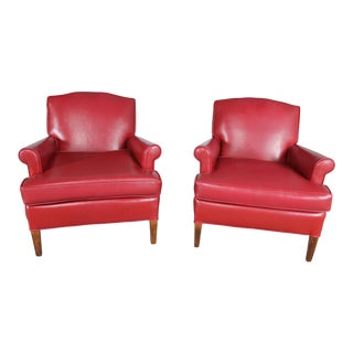 1940s Vintage Red Vinyl Club Chairs - a Pair