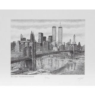 Walter Tjart - NY The Brooklyn Bridge Etching