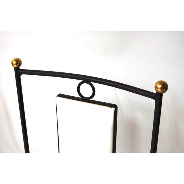Mid-Century Hollywood Regency Iron & Brass Dining Chairs -Set of 4 - Image 4 of 11