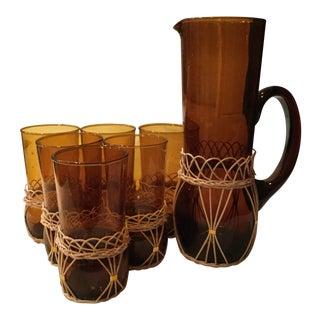 Vintage Amber Glassware - Set of 7