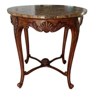 Maitland Smith Wood and Faux Marble Top Foyer Table