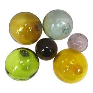 Glass Colored Fishing Floats - Set of 5