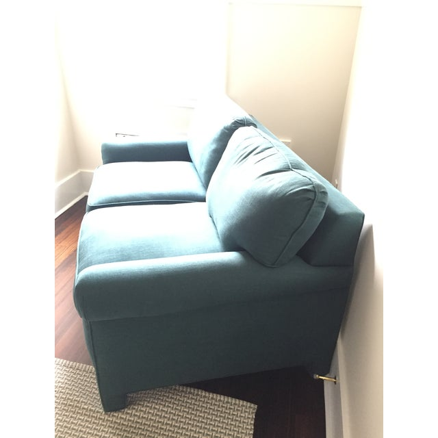 Rolled Arm Forest Green Linen Loveseat - Image 4 of 7