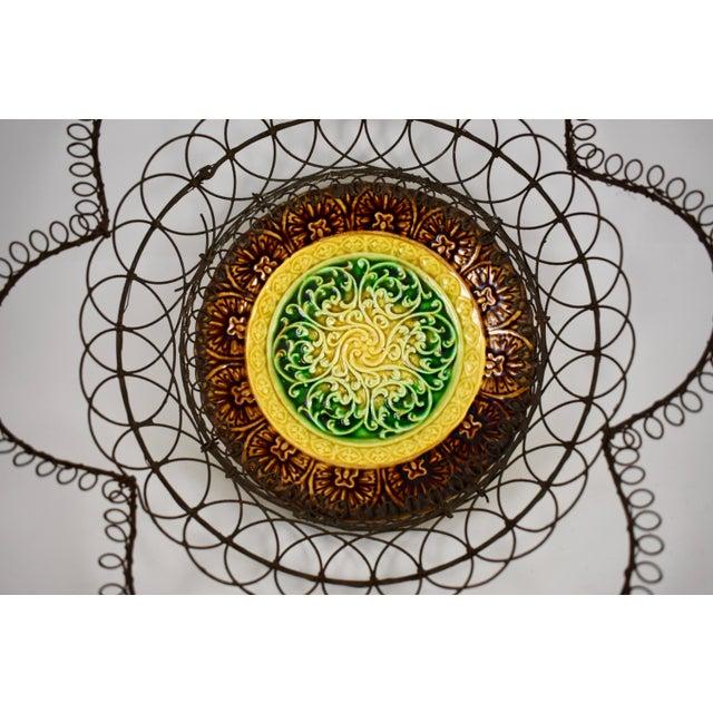 German Majolica & Looped Wire Basket - Image 4 of 11