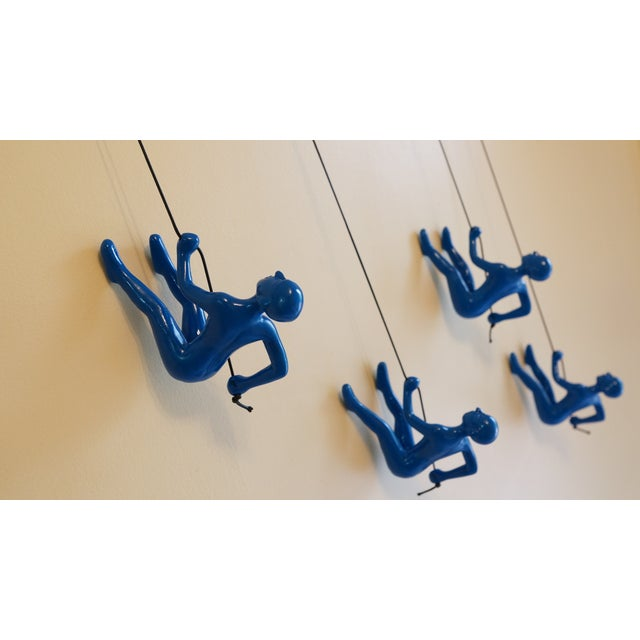 Blue Position 2 Climbing Man Wall Art - Set of 4 - Image 5 of 7
