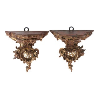 Hand Carved Gilt-Wood Brackets- A Pair