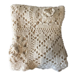 Linen & Cotton Crochet Throw Blanket