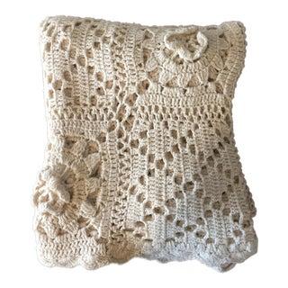 Linen & Cotton Crochet Throw Blanket