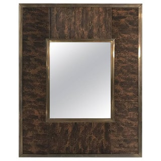 Italian Bronze and Lacquered Bamboo Motif Mirror