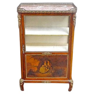 Antique French Handpainted Wood & Ormolu Vitrine