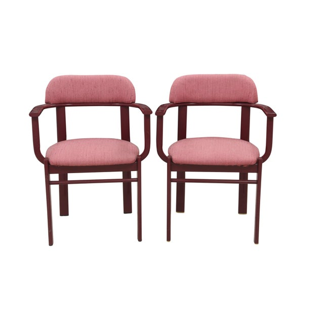 Dusty Rose and Berry Barrel Back Side Chairs - a Pair - Image 6 of 6