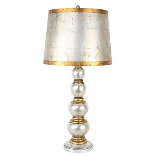 JAMES MONT GOLD AND SILVER LEAF TABLE LAMP, CIRCA 1940S