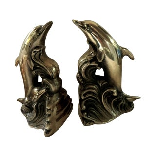 Brass Dolphin Bookends - A Pair