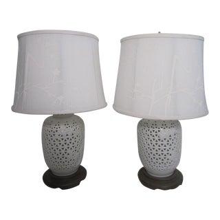 Vintage Blanc De Chine Lamps - A Pair
