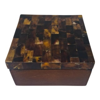Brown Tessellated Bone & Wood Box