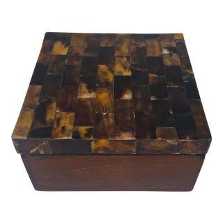 Brown Tessellated Bone & Wood Box