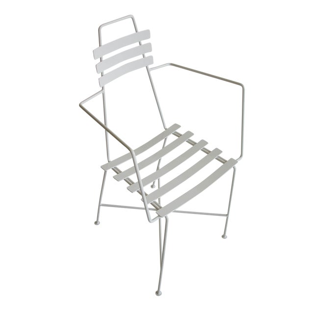 Mid-Century Slatted Wrought Iron Chair - Image 1 of 7