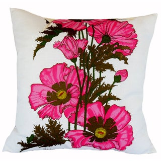 Vintage Alfred Shaheen Pink Poppy Print Pillow