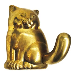 Vintage Brass Cat Wall Hook