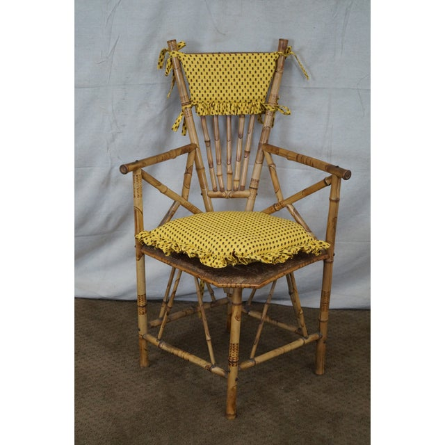 Antique 19th C. Victorian Bamboo Corner Chair - Image 2 of 10